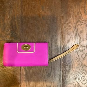 Raspberry Kate Spade Leather Wristlet